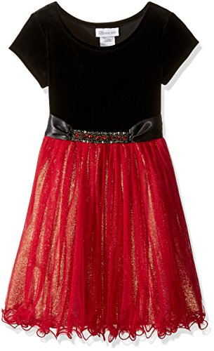 Bonnie Jean Big Girls' Foil Skirt Jewels, Red, 8