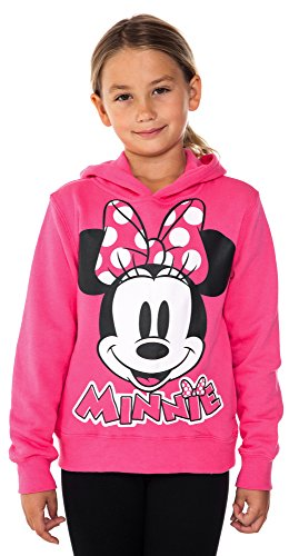 Disney Girls Minnie Mouse Pied Fleece Hoodie Fuchsia Medium