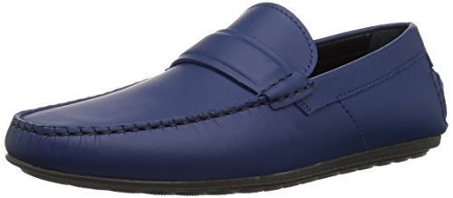 HUGO by Hugo Boss Men's Dandy Suede Moccasin Shoe Penny Loafer, Dark Blue, 7 N US