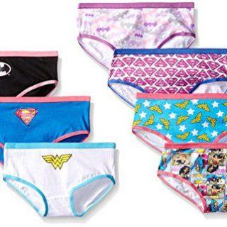 Handcraft Little Girls' Justice League Hipster Underwear (Pack of 7), Assorted, 4