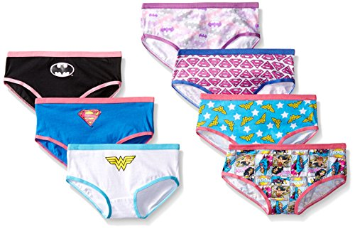 Handcraft Little Girls' Justice League Hipster Underwear (Pack of 7), Assorted, 4