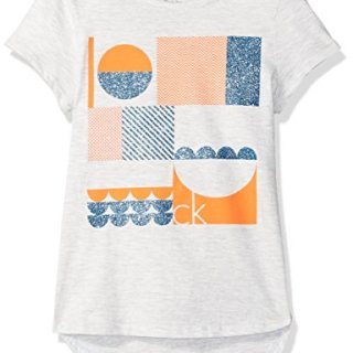 Calvin Klein Big Girls' Calvin Graphic Tee, Light Grey Heather, Medium (8/10)