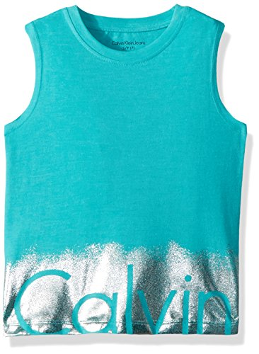 Calvin Klein Big Girls' Calvin Graphic Tee, Ceramic/Silver, Small (7)