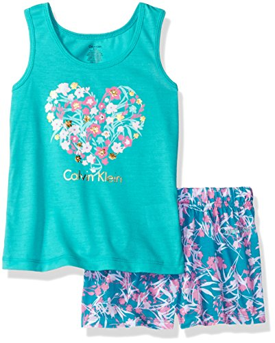 Calvin Klein Little Girls' Ck Graphic Tee with Printed Jersey Shorts, Blue, 5/6