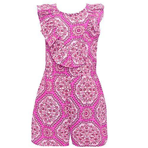 Bonnie Jean Little Girls Fuchsia Ruffle Floral Print Sleeveless Romper 5