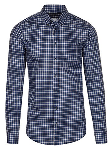 Gucci Men's Blue Check Twill Classic Button Down Dress Shirt, Blue, 16