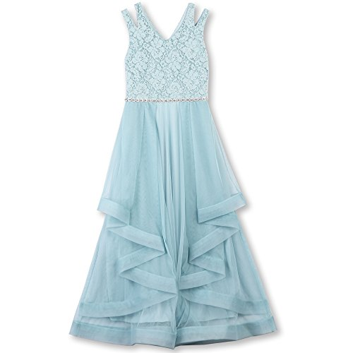 Speechless Big Girls' Formal Dance Or Party Dress with Wide Ribbon Hem, New Ice Blue, 7