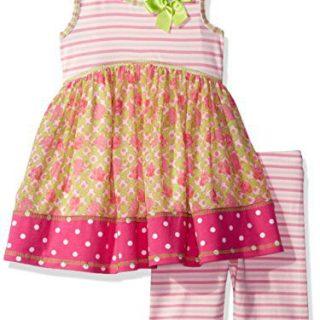 Bonnie Jean Toddler Girls' Sleeveless Dress and Legging Set, Pink, 3T