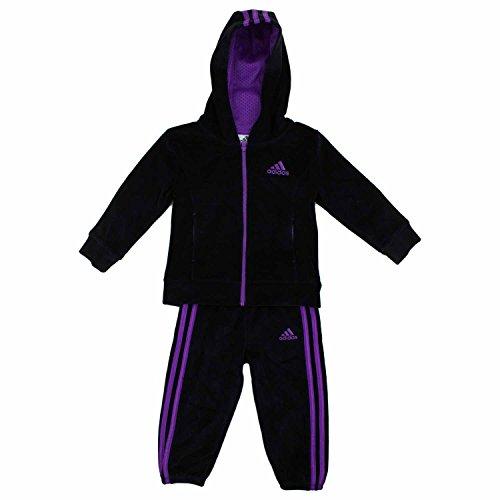 adidas Girls' 2 Piece Jacket Pants Tracksuit Set (Black, 6)