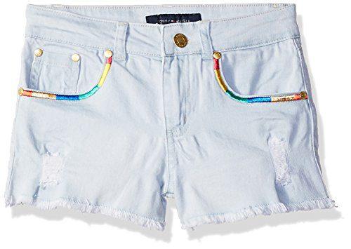 Tommy Hilfiger Big Girls' 5-Pocket Denim Short, Sunwashed Blue Rainbow, 10