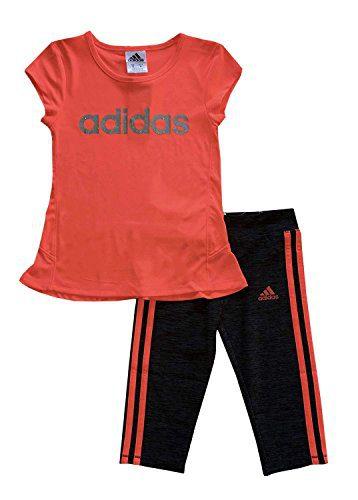 adidas Girls 2 Piece Capri and Shirt Set Size 2, 4, 5 (Red Orange, 2)