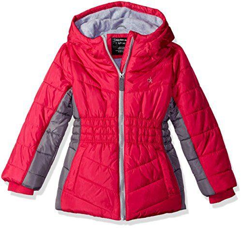 Calvin Klein Little Girls Mohawk Puffer Jacket, Pink, 4