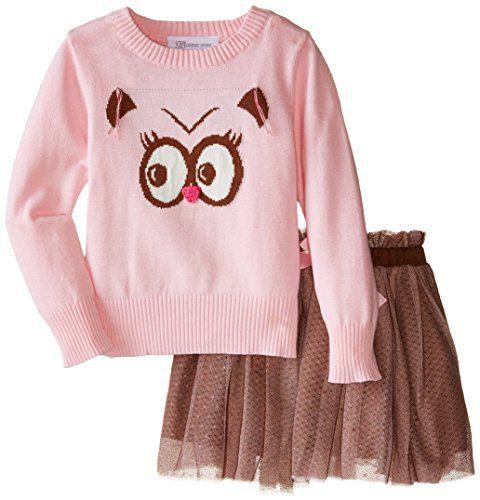 Bonnie Jean Little Girls' Toddler Owl Instarsia Sweater Skirt Set, Pink, 2T