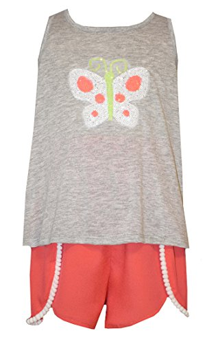 Bonnie Jean Girls Grey Sequin Butterfly Shorts Set (6)