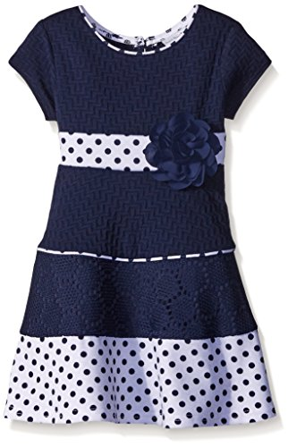 Sweet Heart Rose Little Girls Ponte A-Line Dress with Polka Dot Hem, Navy/White, 4