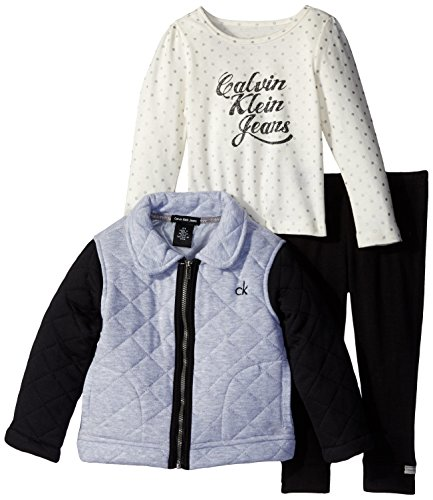Calvin Klein Little Girls' Quilted Jacket with Tee and Pants, Gray, 4