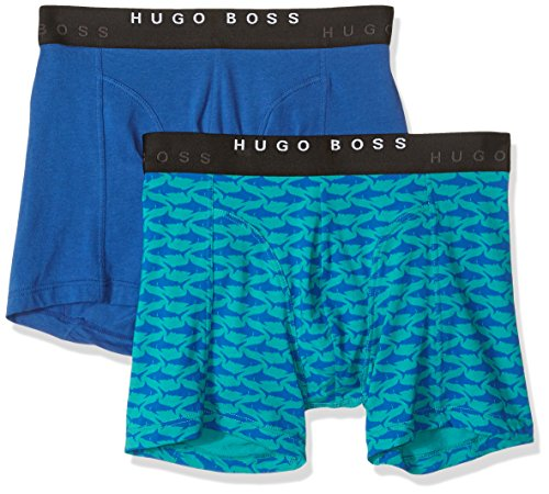 Hugo Boss Men's Boxer Brief 2P Print CO/EL, Turquoise/Aqua, Large