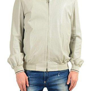 Gucci Men's 100% Leather Ivory Full Zip Bomber Jacket US L IT 52