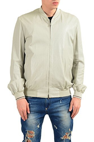 Gucci Men's 100% Leather Ivory Full Zip Bomber Jacket US L IT 52