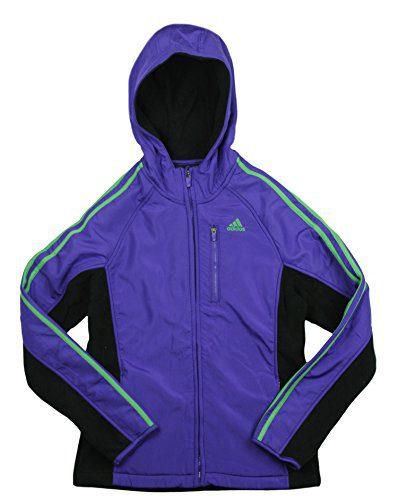 adidas Big Girl's Full Zip Polar Fleece with Hoodie (Medium (10/12), Blast Purple)