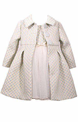 Bonnie Jean 2 Pc Christmas Dress Coat Set Ice Blue Ivory Gold, 6-9 Months
