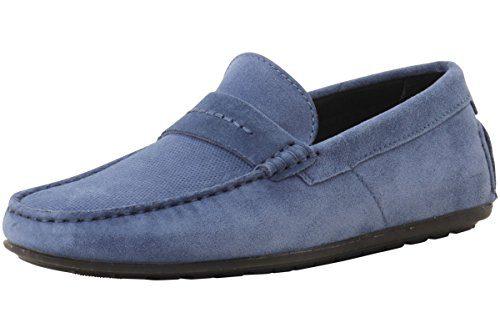 HUGO by Hugo Boss Men's Travelling Dandy Suede Leather Moccasin Shoes Slip-on Loafer, Medium Blue, 11 M US-44 M EU