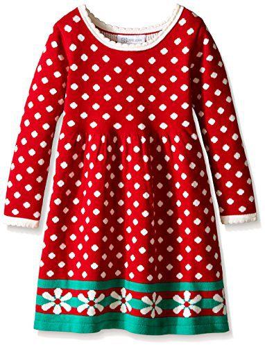 Bonnie Jean Girls Long Sleeve Sweater Dress, Red, 6