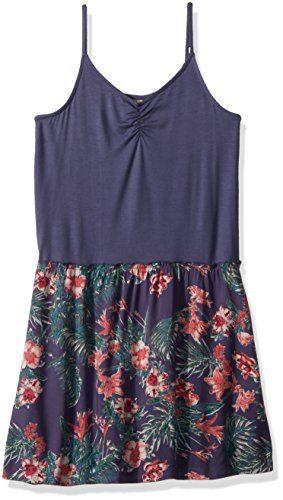 Roxy Big Girls' Greatest Wish Tank Dress, Crown Blue Flower Games, 12/L