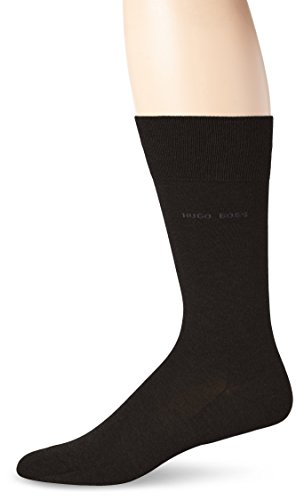 HUGO BOSS Men's Paul Solid Mercerized Crew Sock, Black, 7-13/Shoe Size 6-12