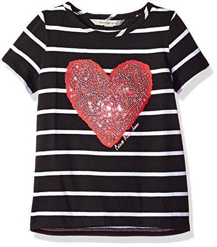 Calvin Klein Big Girls' Sequin Heart Tee, Anthracite, X-Large (16)