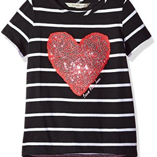Calvin Klein Big Girls' Sequin Heart Tee, Anthracite, X-Large (16)