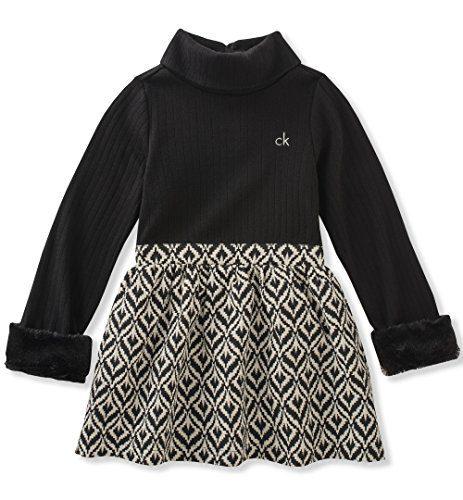 Calvin Klein Toddler Girls' Mix Fabric Dress, Black, 4T
