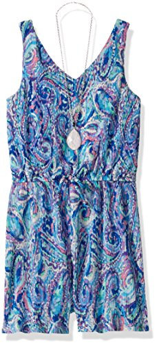 Speechless Big Girls' Print Pleated Romper, Peri/Violet, M