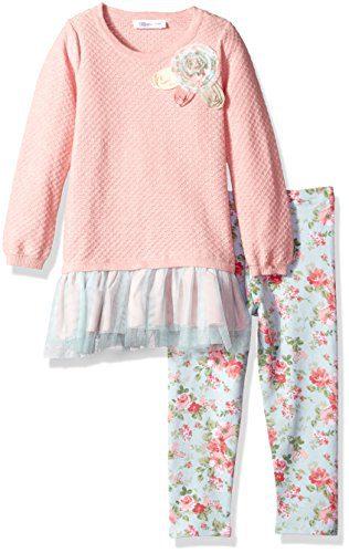 Bonnie Jean Toddler Girls' Fashion Legging Set, Rose, 2T