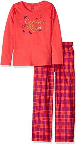 Calvin Klein Big Girls' CK Foil Butterflies V-Neck Sleep Set, Teaberry, 7/8