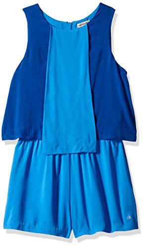 Calvin Klein Big Girls' Seamed Panel Romper, Blue Bikini, Medium