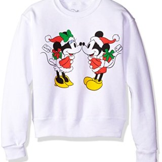 Mickey and Minnie Mouse Kiss Christmas Crew Fleece Pullover