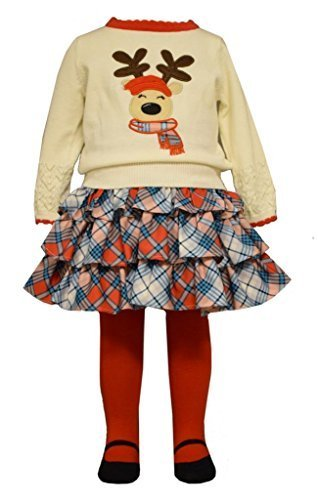 Bonnie Jean Little Girls 3-Pc Christmas Reindeer Sweater Set Skirt Leggings, 2T