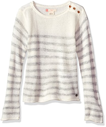 Roxy Big Girls' Ride This Vibe Sweater, Metro Heather Ride This Vibe Sample, 14