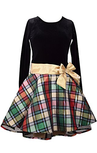 Bonnie Jean Stretch Velvet To Glitter Flock Drop Waist Holiday Girls Dress (16, Gold)