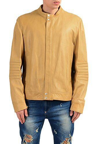 Gucci Men's 100% Leather Beige Full Zip Jacket Size US XL IT 54
