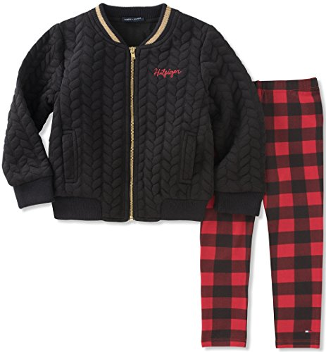 Tommy Hilfiger Toddler Girls' Jacket Pant Set, Black/Red, 4