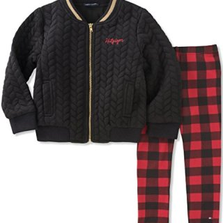 Tommy Hilfiger Toddler Girls' Jacket Pant Set, Black/Red, 4