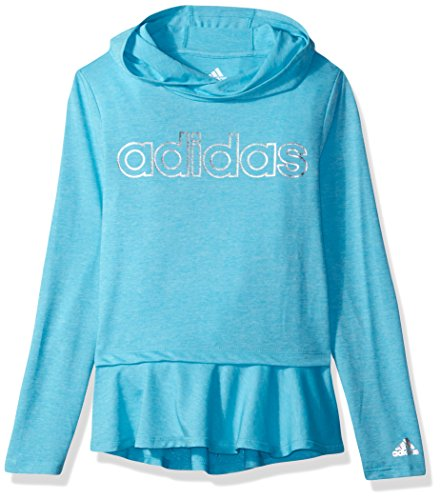 adidas Big Girls' on The Go Melange Hoodie, Blue, M