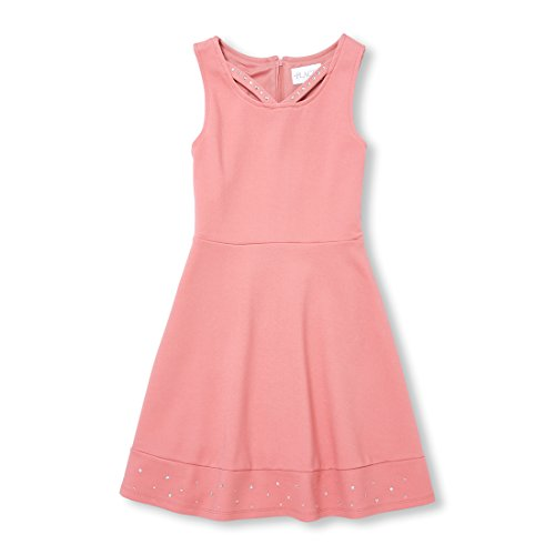 The Children's Place Big Girls' Sleeveless Studded Dress, Flora, XL (14)