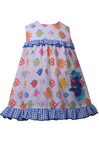 Bonnie Jean Fish Applique Sea Life Bow Back Ruffle Top Bloomers (4 Toddler)