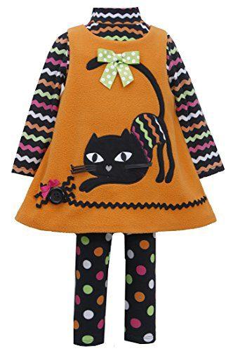 Bonnie Jean Little Girls' Orange CAT Applique Fleece Jumper Leggings 3-pc set, 5