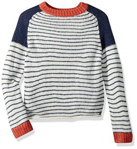 Roxy Big Girls' Halcyon Birds Long Sleeve Sweater, Dress Blues Simple Stripe, 16/XXL