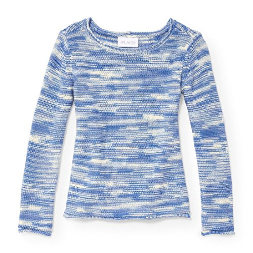 The Children's Place Big Girls' Solid Knit Sweater, Party Blue 5494, M (7/8)