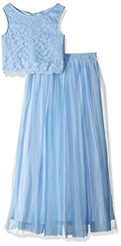 Speechless Big Girls' Lt Blue Glitter Lace 2 Piece Long Skirtset, Blue Serenity, 10